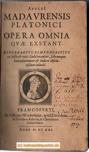 Apulei Madaurensis Platonici Opera Omnia Quae Exstant.: Elmenhorst, Gerhard und