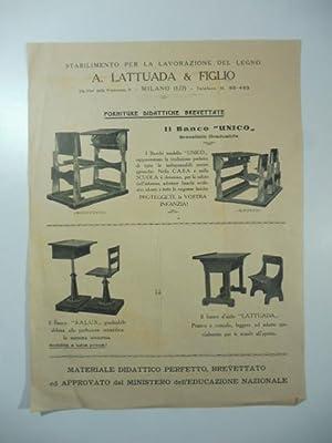 Stabilimento per la lavorazione del legno A. Lattuada & Figlio. Foglio pubblicitario: Anonimo