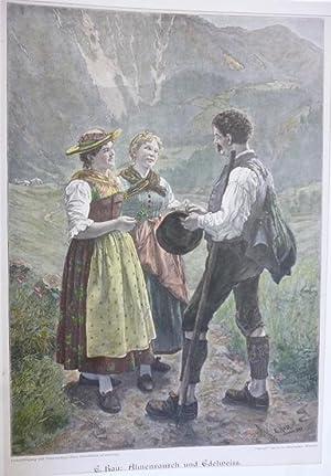 Orig. Holzstich - Trachten - Almenrausch und Edelweiss