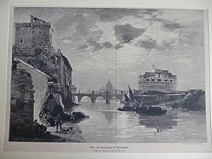 Orig. Holzstich - Italien - Rom: Die Engelsburg bei Mondschein.