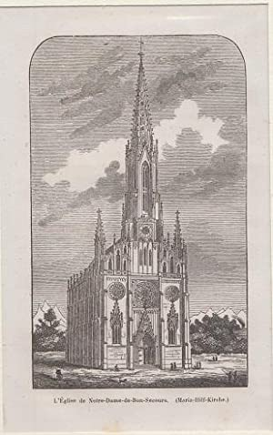 Orig. Holzstich - Bayern - Maria - Hilf - Kirche in München.