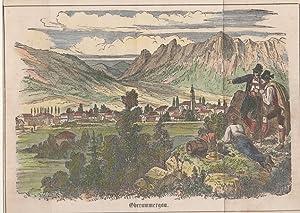 Orig. kolorierter Holzstich - Bayern - Obergrammergau.
