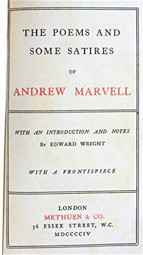 The Poems and Some Satires of Andrew: Marvell, Andrew. Introduction