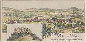 Orig. kolorierter Holzstich - Bayern - Staffelstein und der Staffelberg.