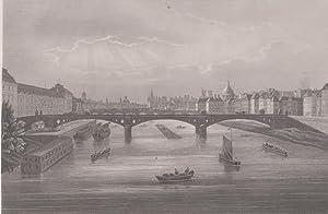 Orig. Stahlstich - Paris von der Seine aus.