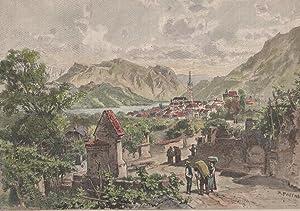 Orig. kolorierter Holzstich - Kaltern und der Kalterer See.