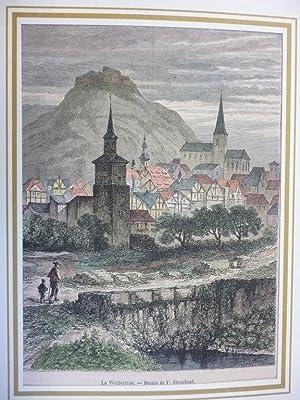 Orig. kolorierter Holzstich - La Weibertrue.