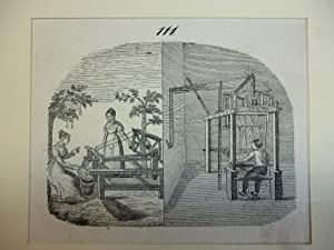 Orig. Holzstich - Weber - Seidenweberei 111.