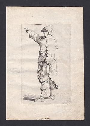 Seltene Original-Radierung von einem Mann, der in eine Richtung zeigt - Kupferstich: Rosa, Salvator...