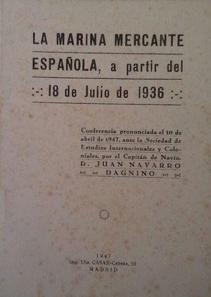 LA MARINA MERCANTE ESPAÑOLA A PARTIR DEL: NAVARRO DAGNINO, JUAN