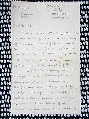 1938 SIR ERNEST BARKER Four Page HANDWRITTEN: SIR ERNEST BARKER