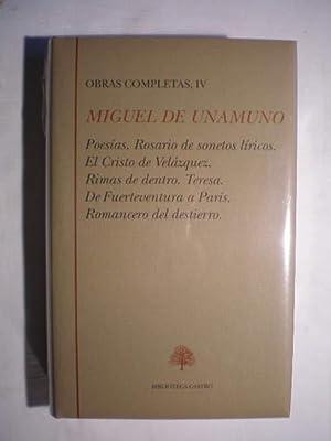Obras Completas. Tomo IV. Poesías. Rosario de: Miguel de Unamuno