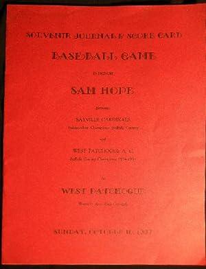Souvenir Journal & Score Card Baseball Game in Honor Sam Hope Between Sayville Cardinals ...