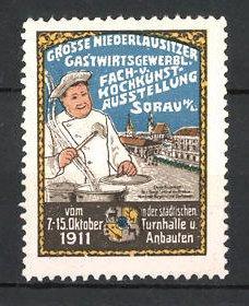 Reklamemarke Sorau, grosse Niederlausitzer Gastwirtsgewerbl. Fach- und