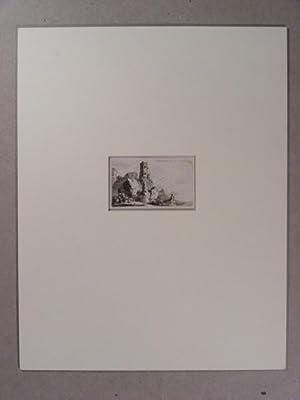 Wildromantische Felsenlandschaft mit Turmruine.: Geissler, Friedrich:
