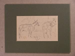 Studie zu zwei Eseln. Verso Studie mit Fuchs von hinten im Unterholz.: Voltz, Ludwig:
