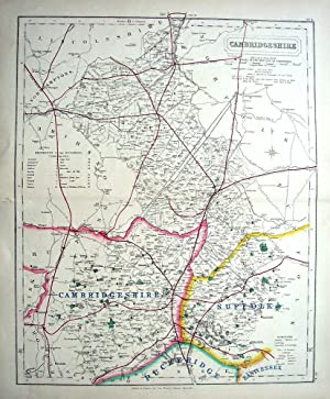 CAMBRIDGESHIRE. Hobson, Walker, Antique County Foxhunting Map c1870