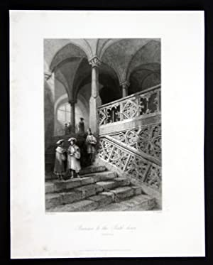 """Staircase to the Rath-house"""" - Regensburg Rathaus Treppe Ansicht Stahlstich antique print: ..."""