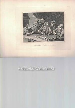 Columbus breaking the Egg. - Original- Kupferstich, feine Manier, und Radierung.,: Hogarth del.
