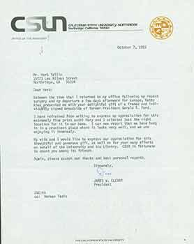Signed letter from James W. Cleary, President: Callifornia State University,