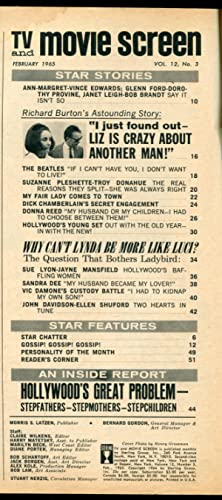 TV and Movie Screen Magazine February 1965- Liz Taylor- The Beatles