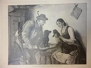 """Orig. Holzstich - Jagd - """"Wie gefällt dir der Älteste?"""" Nach dem Gemälde von Adolf Eberle. ..."""