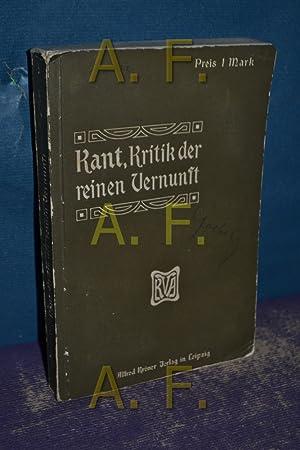 Kritik der reinen Vernunft.: Kant, Immanuel: