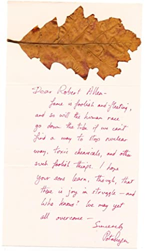 "Seeger refers to ""We Shall Overcome"" in his Autograph Letter Signed with maple leaf ..."