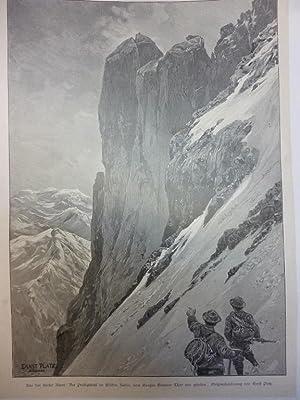 Orig. Holzstich - Ernst Platz - Aus den tiroler Alpen: Der Predigtstuhl im Wilden Kaiser, vom ...