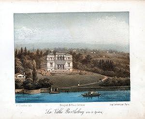 """La Villa Bartholony pres de Geneve"""" - Villa Bartholoni Geneve Genf Ansicht Farblithographie ..."""