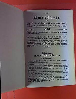 Amtsblatt No. 16. 29. Dezember 1926. Bek. v. 15. Dezember 1926 über die Lehrordnung für die ...