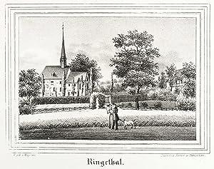 """Ringethal (Mittweida). - Teilansicht mit Dorfkirche. - Kirchen-Galerie. - """"Ringethal""""."""