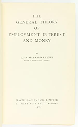 Seller image for The General Theory of Employment, Interest and Money. for sale by Antiquariat INLIBRIS Gilhofer Nfg. GmbH
