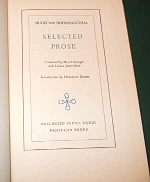 Selected Prose. Translated By Mary Hottinger and Tania & James Stern. Introduction By Hermann ...