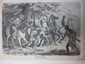 Orig. Holzstich - Indianer - Indianer als Pfadsucher. Nach der Natur aufgenommen von Fred. Kurz.