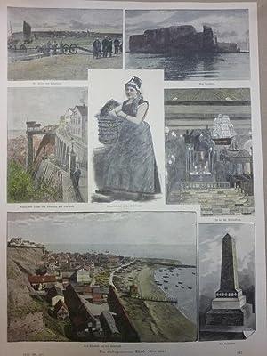 Orig. kolorierter Holzstich - Helgoland - Das wiedergewonnene Helgoland. 7 Bilder.