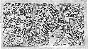 """Bamberg"""" - Bamberg Karte map Ansicht view Kupferstich antique print: Hulsius, Friedrich und ..."""