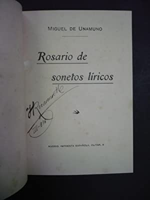 ROSARIO DE SONETOS LÍRICOS.: UNAMUNO, MIGUEL DE.