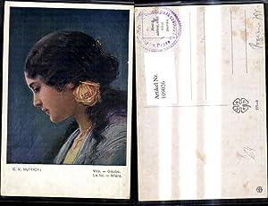 Seller image for 109026,Künstler Ak C. V. Muttich Vira Glaube La foi Wiara Frau Rose i. Haar for sale by Versandhandel Lehenbauer