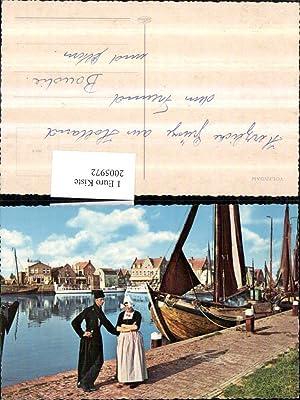 2005972,Volendam Holland Anlegeplatz Segelbote Frau u. Mann