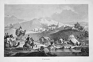 "Caravane"" - Karawane caravan desert camels Kamel Wüste Kupferstich antique print: ..."