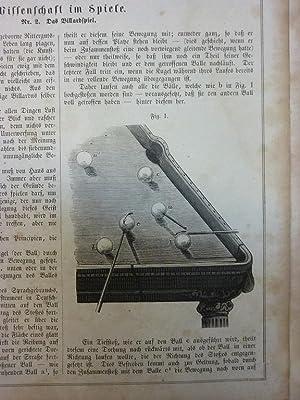 Orig. Holzstich - Billiard - Wissenschaft im Spiele. 2 Blatt mit 5 Stichen.