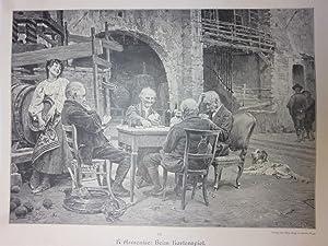 Orig. Holzstich - Kartenspiele - Beim Kartenspiel. R. Armenise.