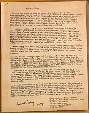 Allen Ginsberg Resume (Signed and Dated)