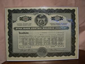 UTAH IDAHO CENTRAL RAILROAD COMPANY STOCK CERTIFICATE