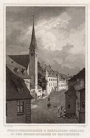 """Teilansicht, Herrenstraße, Ansicht mit """"Stadt - Pfarrkirche u. Gräfliches Schloss ."""".: ..."""