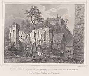 Teilansicht, St. Bartholomäuskirche (Ruinenansicht), i. Hgr. das Schloß.: Herzberg am Harz: