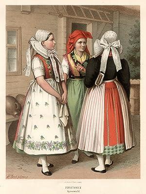 Drei Frauen in Festtracht.: Spreewald: Tracht: