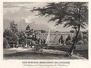 """Südseite m. d. Terassen und der Fontaine, """"Das Schloß Sanssouci bei Potsdam"""".: Potsdam - ..."""