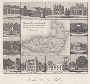 Plan der Pfaueninsel; mit den Ansichten ihrer Gebäude, aufgenommen und gez. v. W. v. Möllendorf. ...